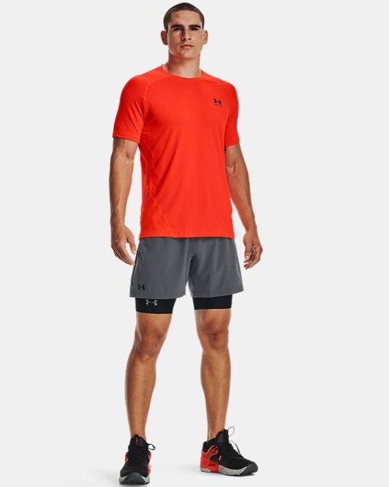 Men's HeatGear® Armour Fitted Short Sleeve, Orange, pdpMainDesktop image number 0