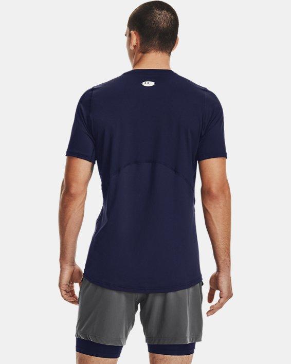 Men's HeatGear® Armour Fitted Short Sleeve, Navy, pdpMainDesktop image number 2