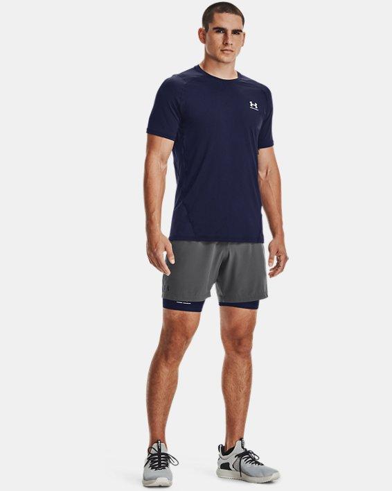 Men's HeatGear® Armour Fitted Short Sleeve, Navy, pdpMainDesktop image number 0