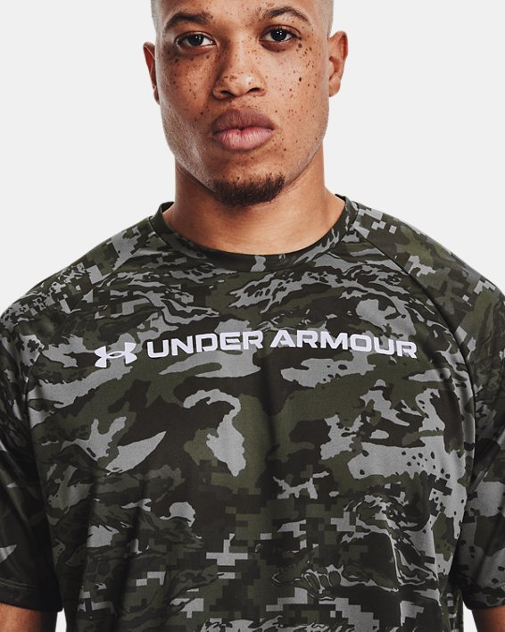 Men's UA Tech™ ABC Camo Short Sleeve, Gray, pdpMainDesktop image number 3