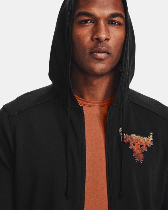 Men's Project Rock Terry Full Zip Hoodie, Black, pdpMainDesktop image number 5