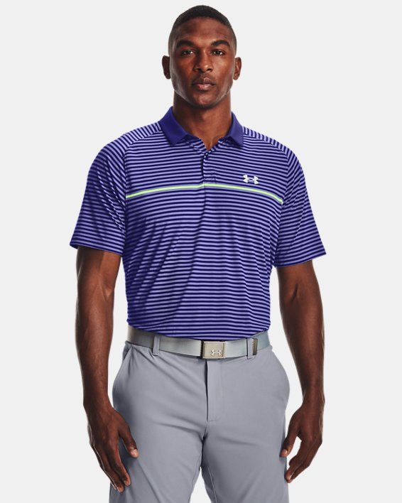Men's UA Iso-Chill Hollen Stripe Polo, Blue, pdpMainDesktop image number 1