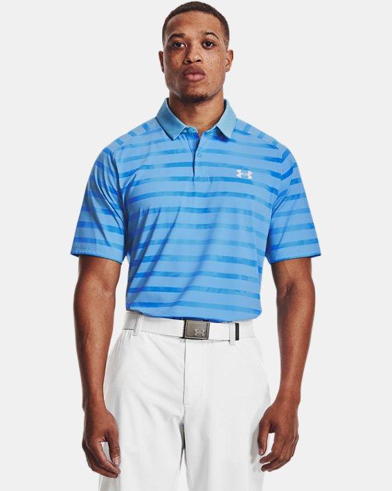 Men's UA Iso-Chill Floral Stripe Polo, Blue, pdpMainDesktop image number 1
