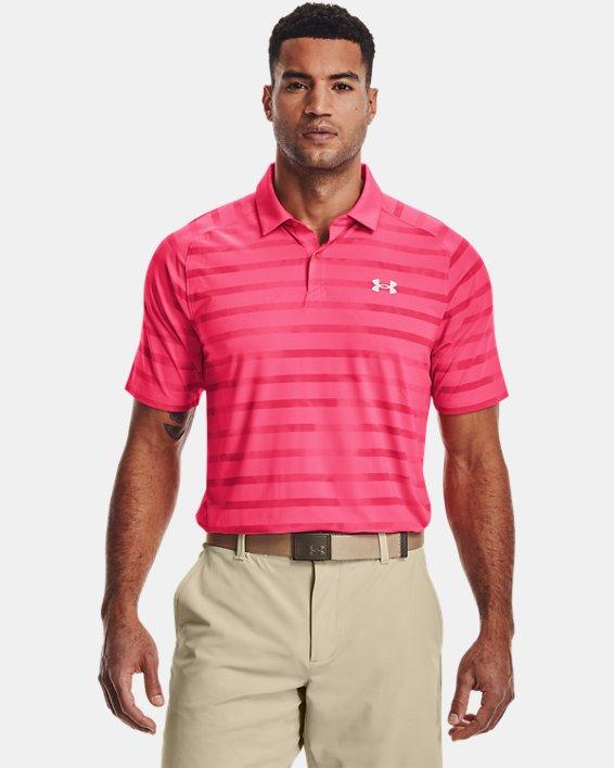 Men's UA Iso-Chill Floral Stripe Polo, Pink, pdpMainDesktop image number 1