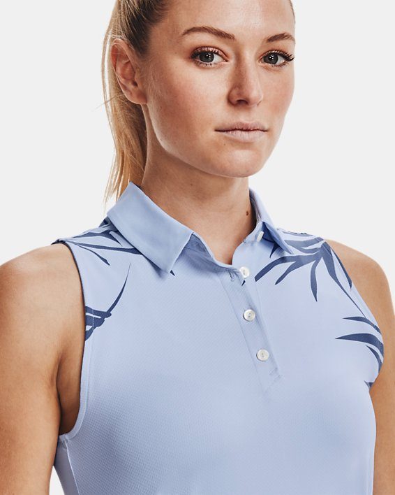 Women's UA Iso-Chill Sleeveless Polo, Blue, pdpMainDesktop image number 5