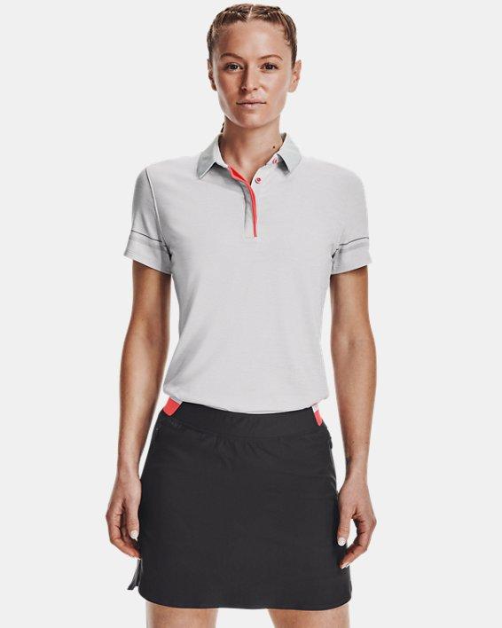 Women's UA Zinger Heathered Short Sleeve Polo, Gray, pdpMainDesktop image number 1