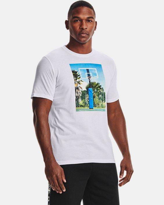 Men's UA Hoops Summer Daze T-Shirt, White, pdpMainDesktop image number 1