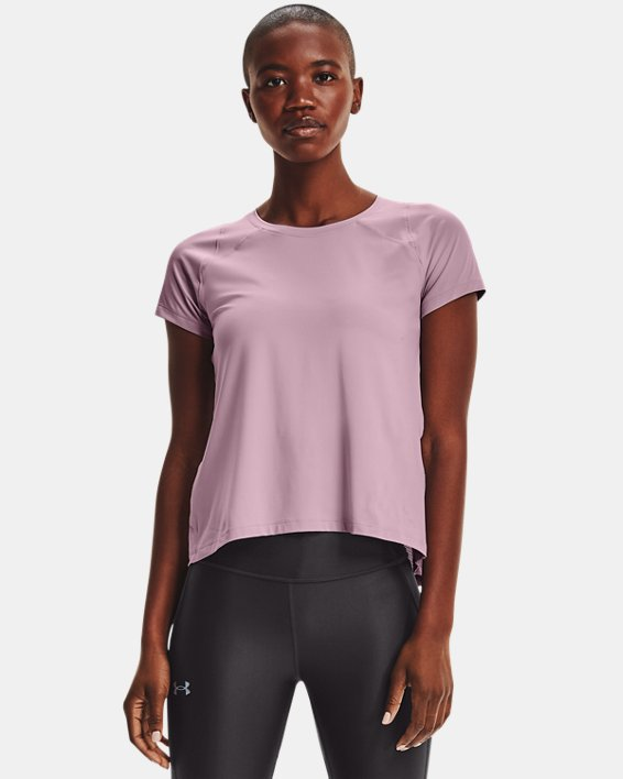 Women's UA Iso-Chill Run Short Sleeve, Pink, pdpMainDesktop image number 1