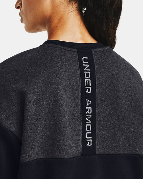Women's UA Rival Fleece Embroidered Crew, Black, pdpMainDesktop image number 5