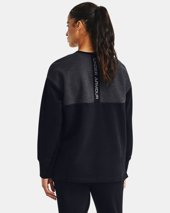 Women's UA Rival Fleece Embroidered Crew, Black, pdpMainDesktop image number 0