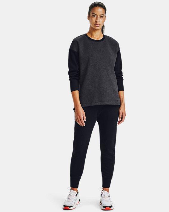 Women's UA Rival Fleece Embroidered Crew, Black, pdpMainDesktop image number 1