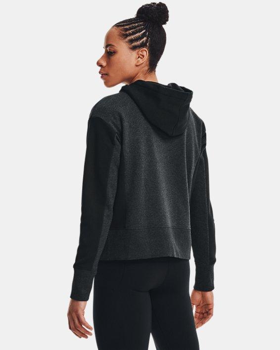 Women's UA Rival Fleece Embroidered Full Zip Hoodie, Black, pdpMainDesktop image number 3