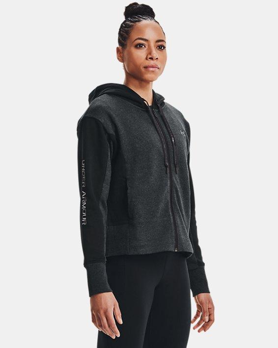Women's UA Rival Fleece Embroidered Full Zip Hoodie, Black, pdpMainDesktop image number 2
