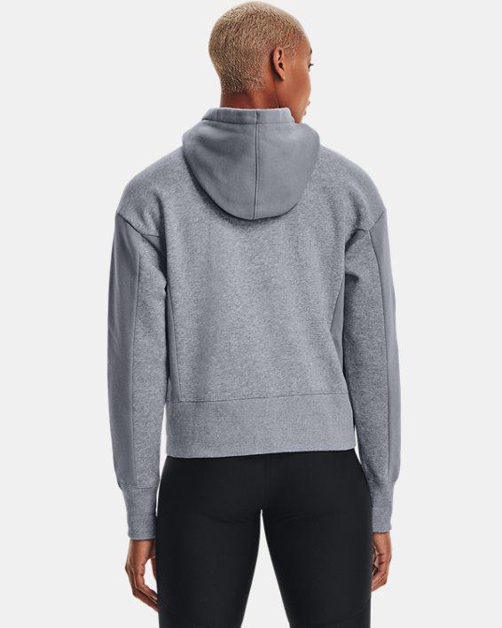 Women's UA Rival Fleece Embroidered Full Zip Hoodie, Gray, pdpMainDesktop image number 3