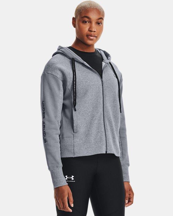 Women's UA Rival Fleece Embroidered Full Zip Hoodie, Gray, pdpMainDesktop image number 2