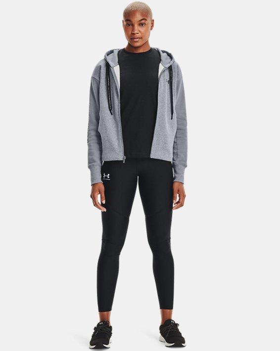 Women's UA Rival Fleece Embroidered Full Zip Hoodie, Gray, pdpMainDesktop image number 1