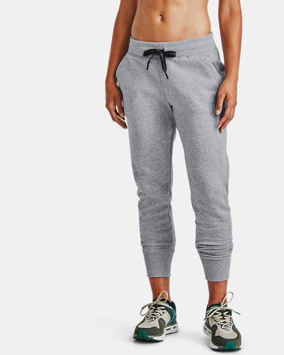 Women's UA Rival Fleece EMB Pants, Gray, pdpMainDesktop image number 0
