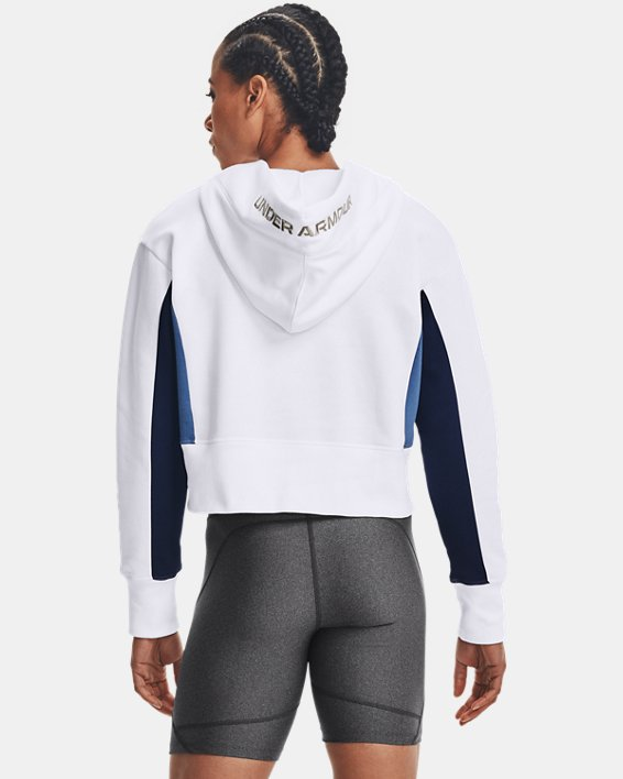 Women's UA Rival Fleece Embroidered Hoodie, White, pdpMainDesktop image number 2