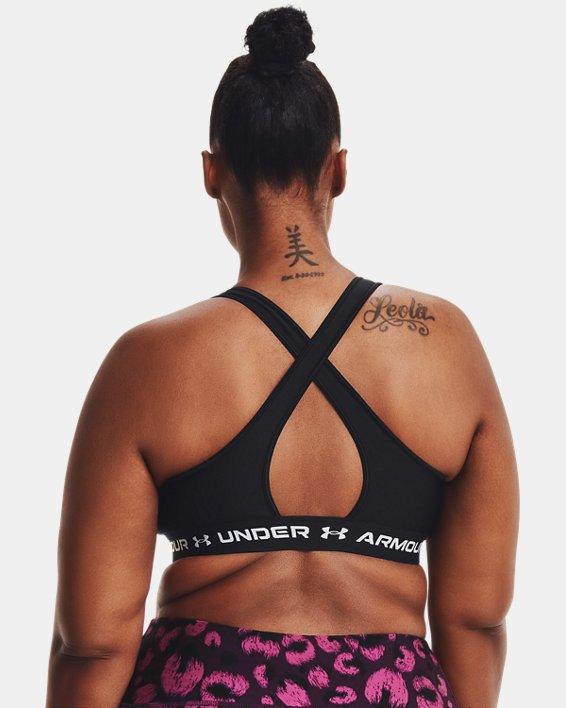 Women's Armour® Mid Crossback Matte/Shine Sports Bra, Black, pdpMainDesktop image number 8