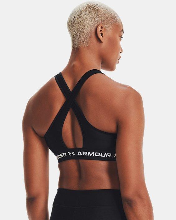 Women's Armour® Mid Crossback Matte/Shine Sports Bra, Black, pdpMainDesktop image number 7
