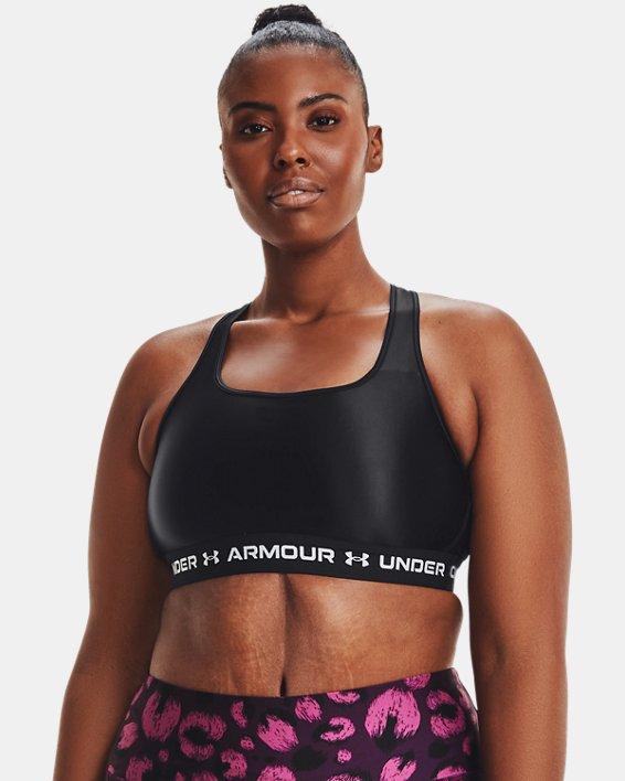 Women's Armour® Mid Crossback Matte/Shine Sports Bra, Black, pdpMainDesktop image number 5