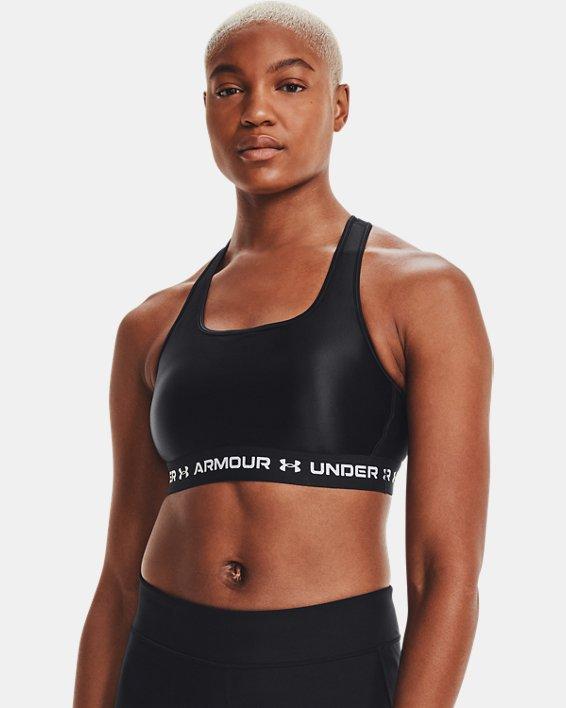 Women's Armour® Mid Crossback Matte/Shine Sports Bra, Black, pdpMainDesktop image number 4
