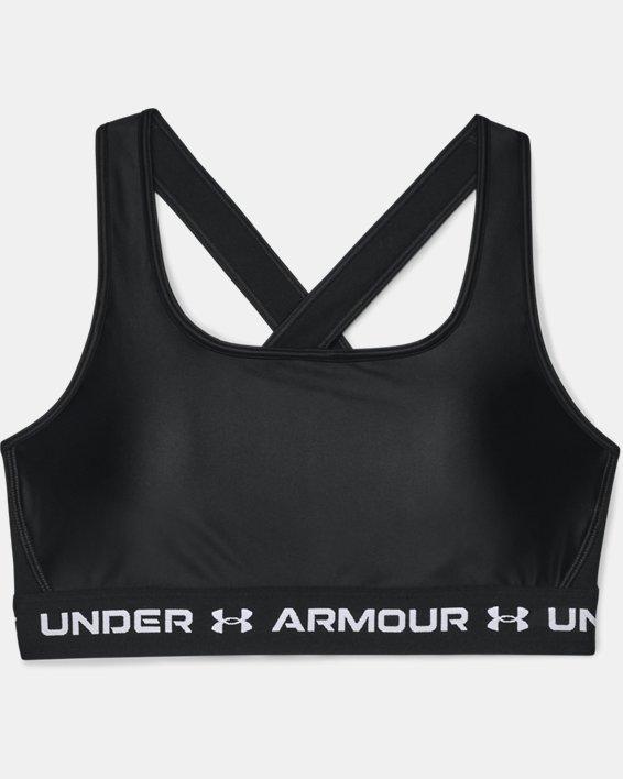 Women's Armour® Mid Crossback Matte/Shine Sports Bra, Black, pdpMainDesktop image number 2