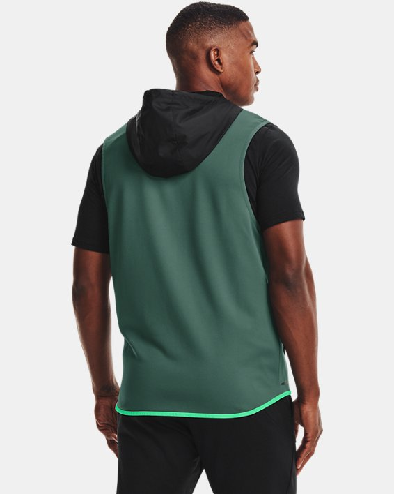 Men's Armour Fleece® Storm Hooded Vest, Black, pdpMainDesktop image number 1