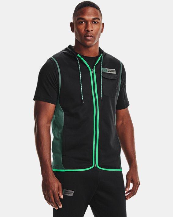 Men's Armour Fleece® Storm Hooded Vest, Black, pdpMainDesktop image number 0