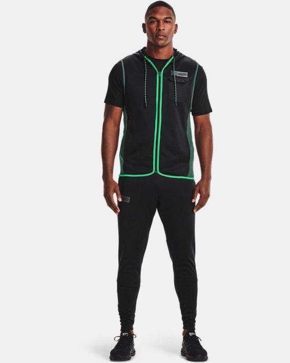 Men's Armour Fleece® Storm Hooded Vest, Black, pdpMainDesktop image number 2