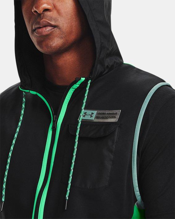 Men's Armour Fleece® Storm Hooded Vest, Black, pdpMainDesktop image number 3