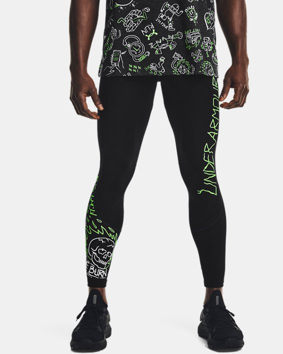 Men's UA Run Your Face Off Tights, Black, pdpMainDesktop image number 1
