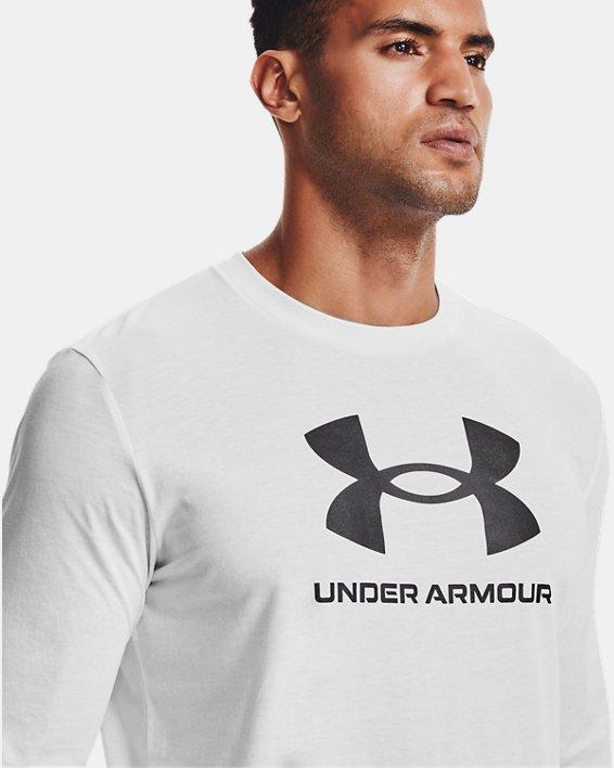 Camiseta de manga larga UA Sportstyle Logo para hombre, White, pdpMainDesktop image number 5