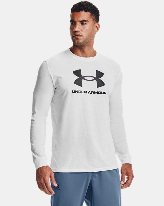 Camiseta de manga larga UA Sportstyle Logo para hombre, White, pdpMainDesktop image number 1