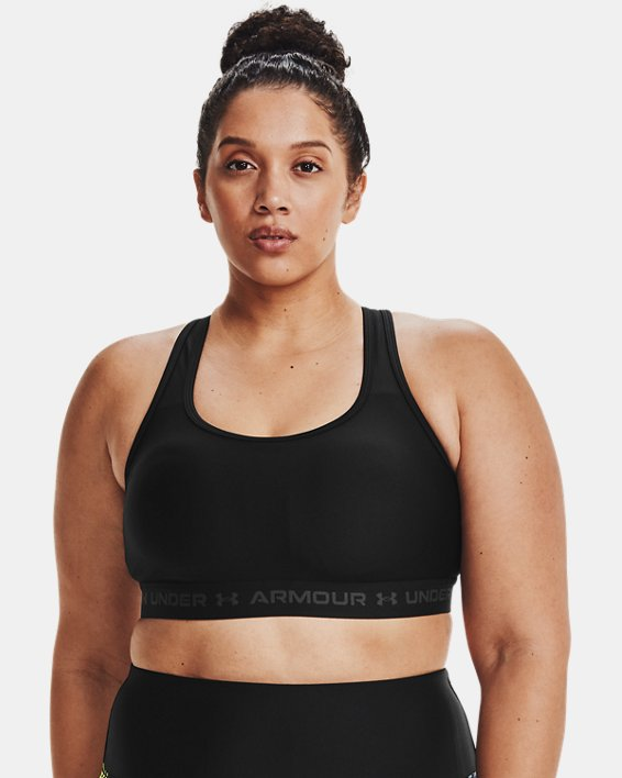 Women's Armour® Mid Crossback Sports Bra, Black, pdpMainDesktop image number 0