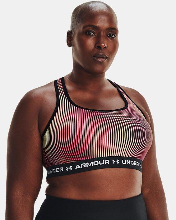 Women's Armour® Mid Crossback Print Sports Bra, Black, pdpMainDesktop image number 0