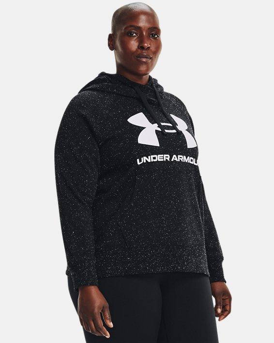 Women's UA Rival Fleece Logo Hoodie, Black, pdpMainDesktop image number 0