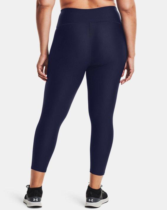 Women's HeatGear® Armour No-Slip Waistband Ankle Leggings, Navy, pdpMainDesktop image number 2