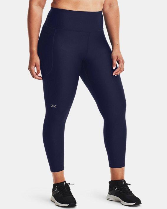 Women's HeatGear® Armour No-Slip Waistband Ankle Leggings, Navy, pdpMainDesktop image number 1