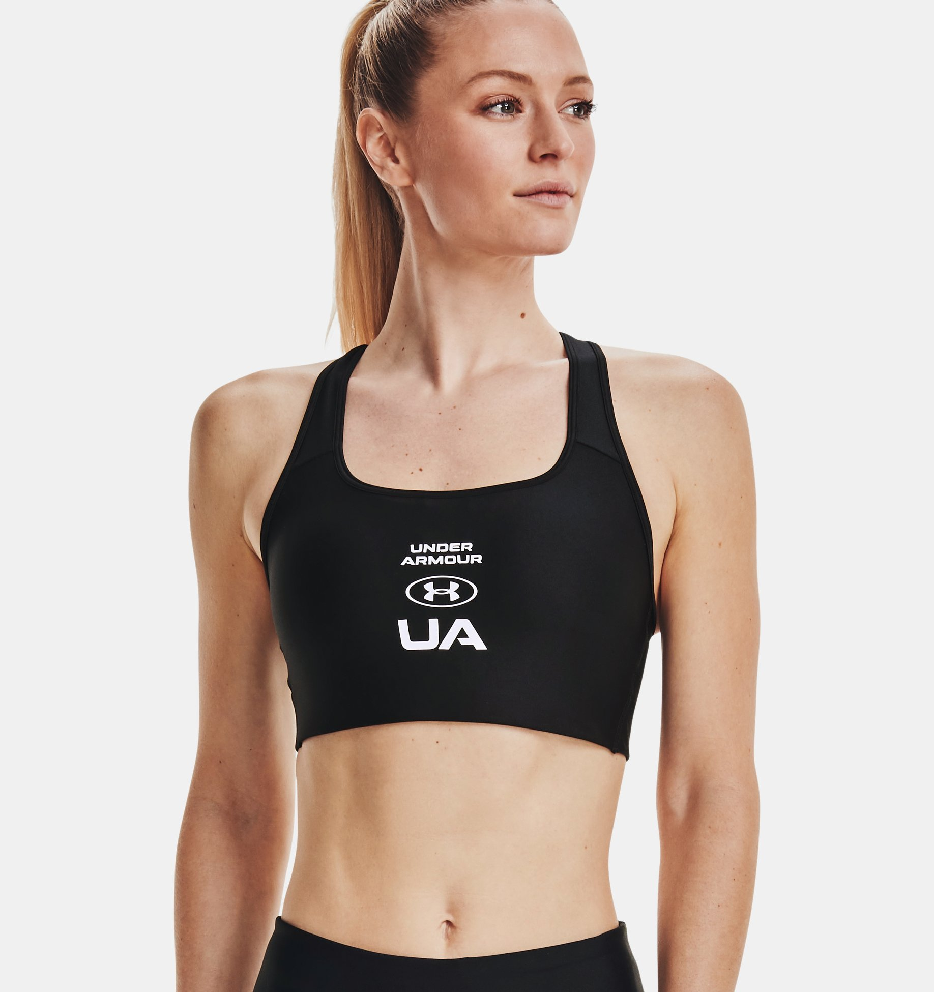 Underarmour Womens Armour Mid Crossback Graphic Sports Bra