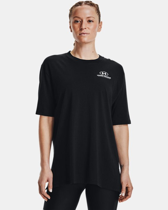 Women's UA Graphic Oversized Short Sleeve, Black, pdpMainDesktop image number 1