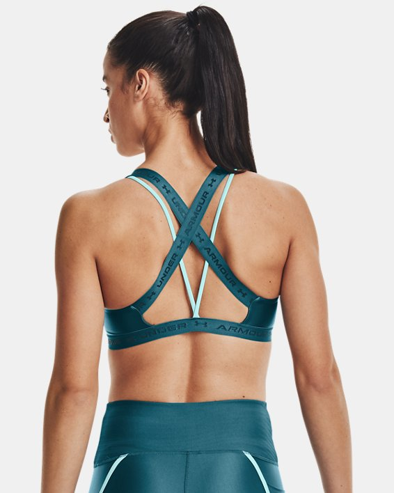 Women's UA Crossback Low Shine Sports Bra, Green, pdpMainDesktop image number 1