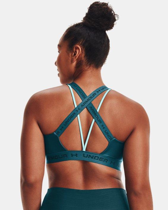 Women's UA Crossback Low Shine Sports Bra, Green, pdpMainDesktop image number 8