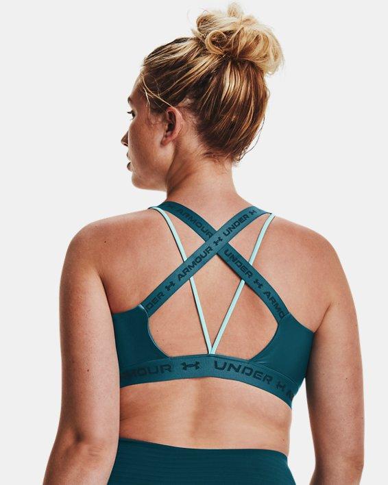 Women's UA Crossback Low Shine Sports Bra, Green, pdpMainDesktop image number 9