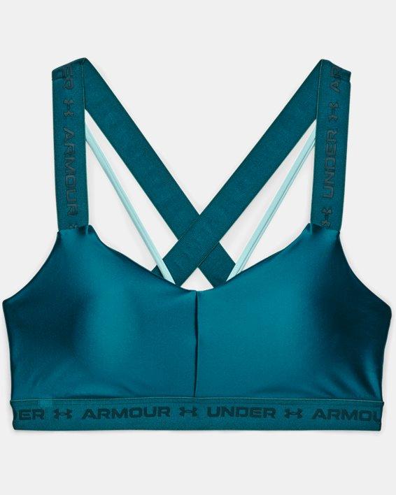 Women's UA Crossback Low Shine Sports Bra, Green, pdpMainDesktop image number 2