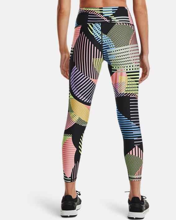 Women's HeatGear® Armour No-Slip Waistband Geo Print Ankle Leggings, Black, pdpMainDesktop image number 2