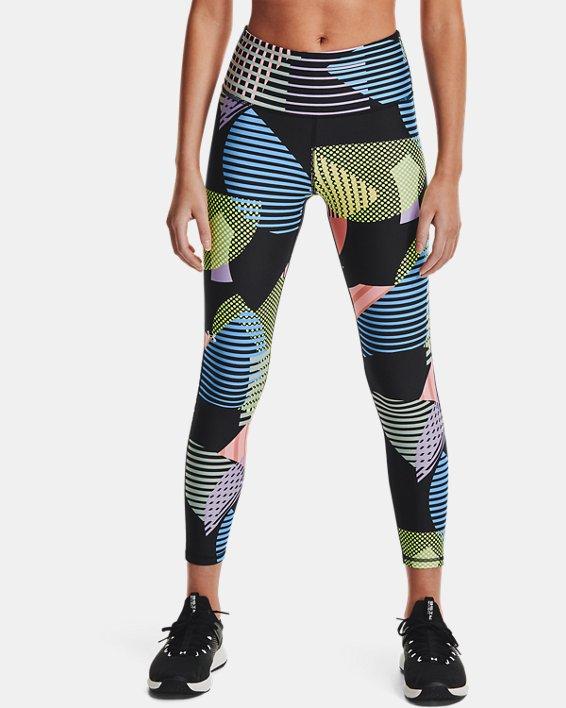 Women's HeatGear® Armour No-Slip Waistband Geo Print Ankle Leggings, Black, pdpMainDesktop image number 1