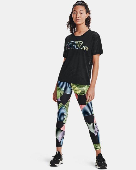 Women's HeatGear® Armour No-Slip Waistband Geo Print Ankle Leggings, Black, pdpMainDesktop image number 0