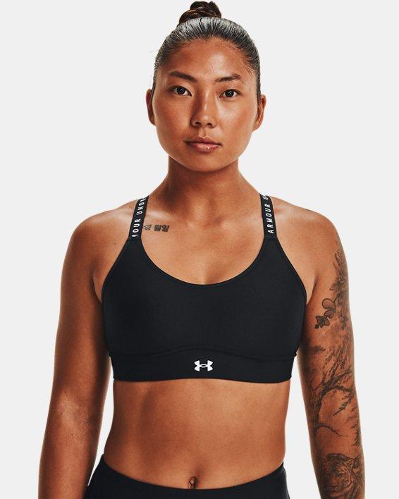 Women's UA Infinity Mid Covered Sports Bra, Black, pdpMainDesktop image number 0