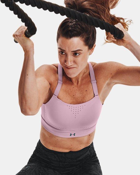 Women's UA RUSH™ High Sports Bra, Pink, pdpMainDesktop image number 0